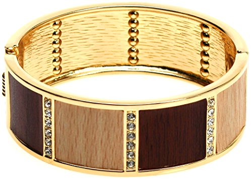 Lova Jewelry Brown Wood Texture Crystal Gold Tone Hinge Metal Bangle Bracelet