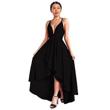 Amphia Damen Abendkleid mit Tiefer V-Ausschnitt Bunte Kleider Asymmetrisch  Schlitz Maxikleider Sommerkleider Partykleider Cocktailkleid eb30007f5a