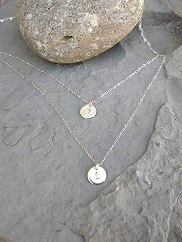 (Double Strand Sterling Silver 2 Initial Necklace, Your Choice of Initials and Font)