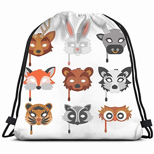 (Set Cartoon Animals Party Masks Wildlife Mask Objects Drawstring Bag Backpack Gym Dance Bag Reversible Flip Sequin Bling Backpack For Hiking Beach Travel)
