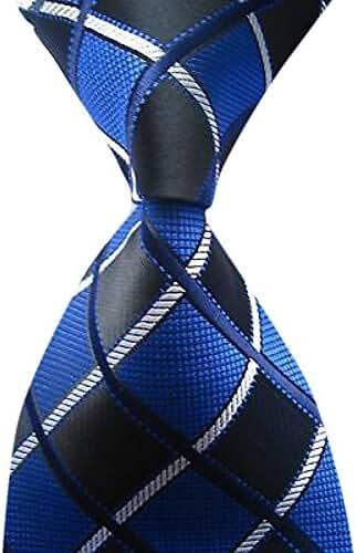 Allbebe Men's Classic Checks Blue Jacquard Woven Silk Tie Business Necktie