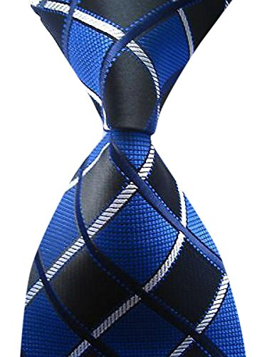 Allbebe Men's Classic Checks Blue Jacquard Woven Silk Tie Business - Tie Blue Classic