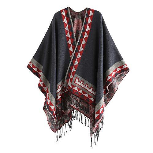 MaxFox Women Square Stitching Soft Cashmere Wool Striped Tassel Neck Blanket Tartan Keep Warm Shawl Scarf (D) ()