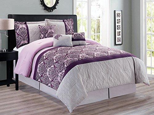 7-Pc French Lily Fleur-de-lis Quilted Royal Damask Floral Comofrter Set King Purple Lavender Gray (Quilted Lis De Fleur)
