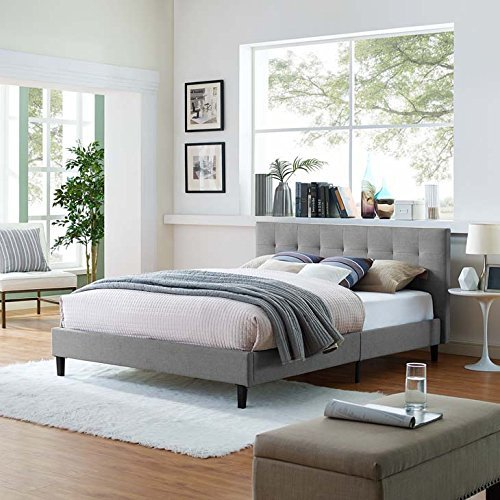 Modway Linnea Upholstered Light Gray Platform Bed with Wood