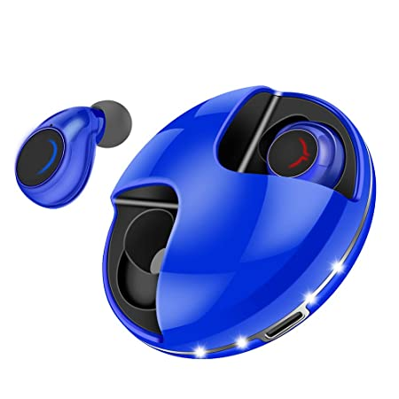 Wireless Earbuds Bluetooth 5.0, 20H Playtime Wireless Headphones Volume Control, Stereo Sound Bluetooth Earbuds with Mic, IPX5 Sweatproof Mini Earphones Auto Pairing with Charging Case – Blue