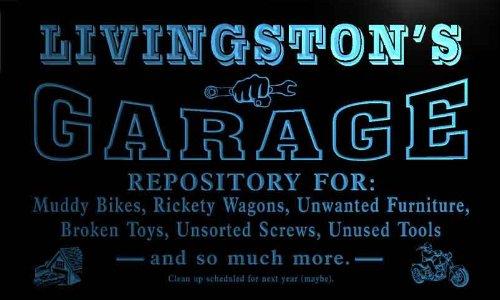 pp1715-b Livingston's Garage Repair Shop Room Bar Beer Neon Light - Shop Livingston