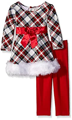 Chic Red Spangled Plaid Santa Outfit for Infants & Girls from Bonnie Baby