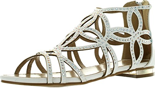 (Forever Tory-63 Womens Cut Out Back Zip Flat Sandals,White,10)
