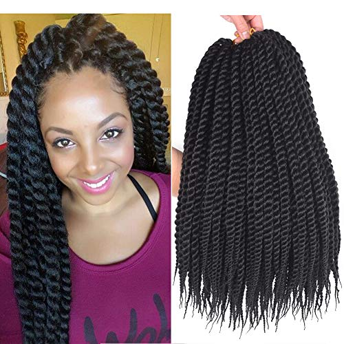 Refined Hair Synthetic Crochet Braids For Woman 18Inch 12roots/pack Ombre Senegalese Twist Crotchet Braid Hair Extensions 6Packs/Lot (18inch, 1B)