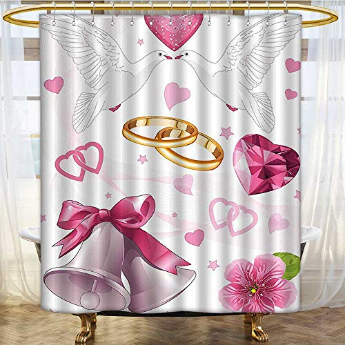 Shower Curtains 3D Digital Printing Wedding Themed Invitation Hearts Rings Birds Pink White G Custom Made Shower Curtain W60 x H72 inch ()