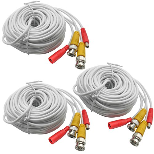 3-Pack 20M 65ft. White, Pre-Made All-in-one BNC Video and Power Cable Wire with Connector DC 2.1mm for CCTV Surveillance Security Camera