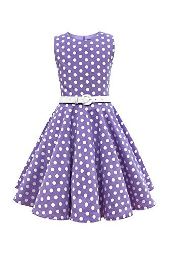 BlackButterfly Kids 'Audrey' Vintage Polka Dot 50's Girls Dress (Purple, 11-12 YRS)