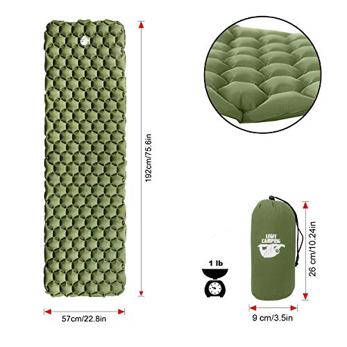 Legit Camping Sleeping Pad - Ultralight Camping Pad for Backpacking and Camping - Sleeping Mat That Holds The Air in for Longer Hours - Compact Camping Mat for Best Outdoor Sleep (Forest Green)