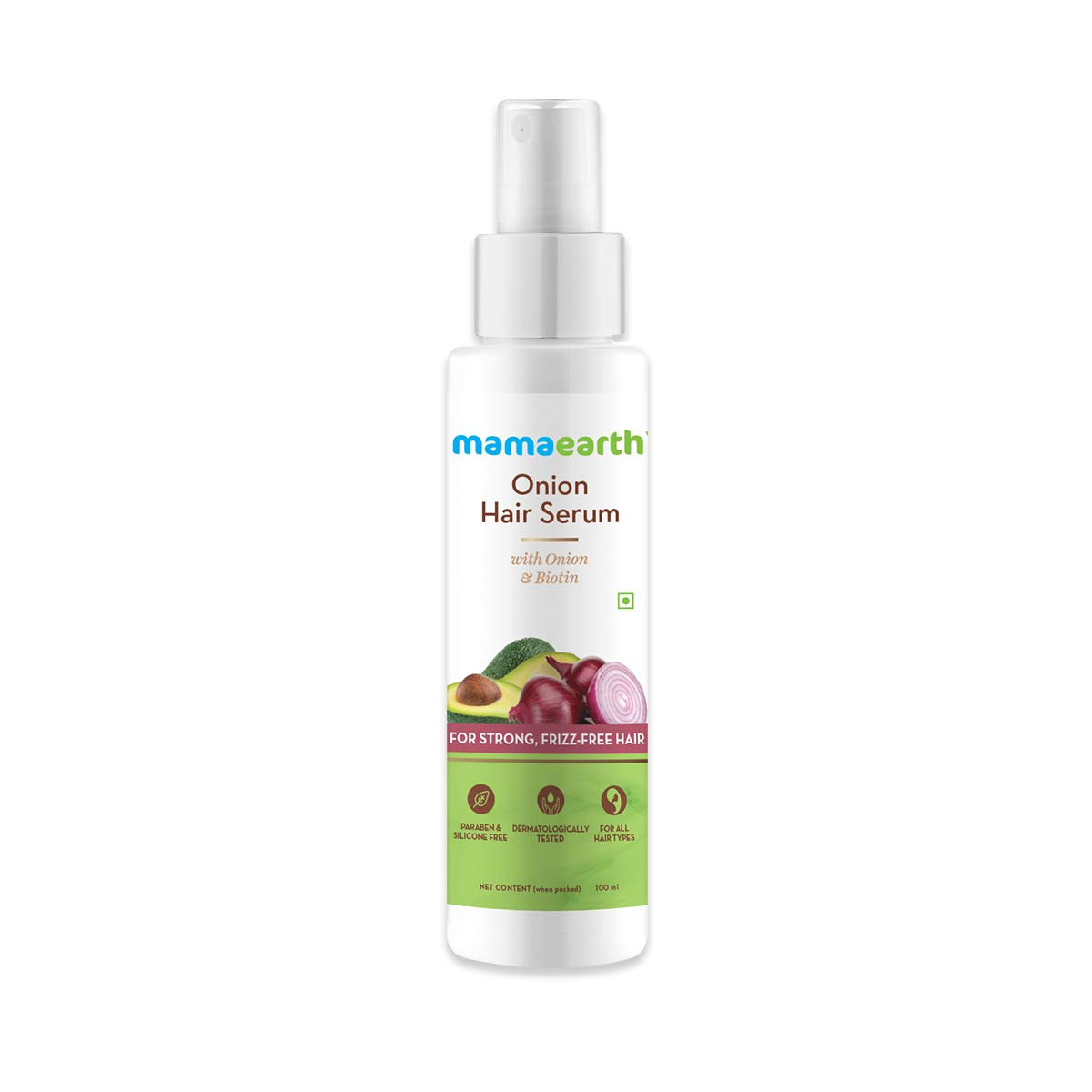 Mamaearth Onion Hair Serum For Silky & Smooth Hair, Tames Frizzy Hair, with Onion & Biotin for Strong, Tangle Free & Frizz-Free Hair - 100 ml