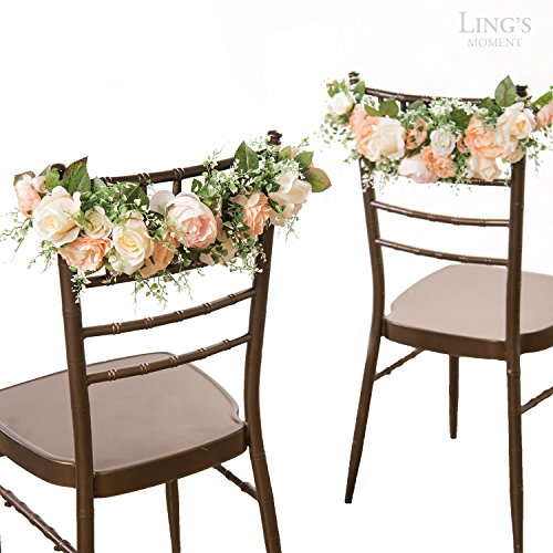 ling's moment Nearly Natural Rose and Peony Spring Blooms Chair Banners Wedding Arch Wedding Chair Decoration Centerpiece Silk Flower Arrangement, Mixed Flower(Pack of 2) (Peony Centerpiece)