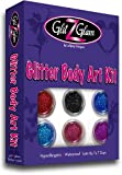 Glitter Tattoo Kit- NEW GLITZ - with 6 Large Glitters & 12 Stencils - HYPOALLERGENIC and DERMATOLOGIST TESTED! - for boys & Girls. Children Tattoos by GlitZGlam Body Art