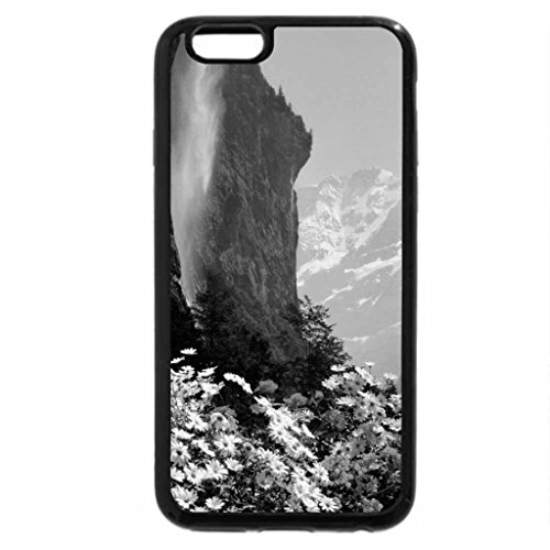iPhone 6S Plus Case, iPhone 6 Plus Case (Black & White) - A Bed of Flwers in Front of Waterfalls in Switzerland