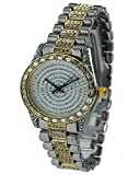 Mens Hip Hop Iced Out 14K Gold & Silver Plated CZ Simulated Diamond Geneva Quartz Watch (Two-tone)