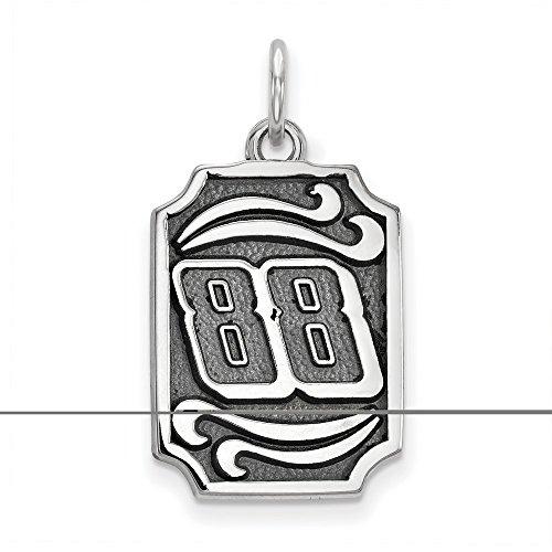 rk Dale Earnhardt Jr #88 Dog Tags Bali Leaf Pattern Stainless Steel Pendant & Chain ()