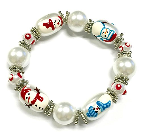 (Linpeng 3D Hand Painted Glass Beads Christmas Stretch Bracelet in Bag,)