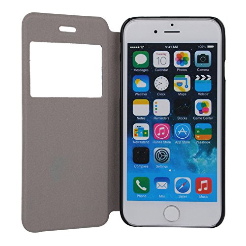 MOONCASE Apple iPhone 6S Case Slim Window View Design Tasche Flip Leder Schutzhülle Etui Case Cover Hülle Schale für Apple iPhone 6 / 6S (4.7 inch) XB08