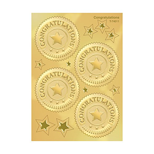 Congratulations (Gold) Award Seals Stickers - 4 stickers per sheet, 8 (Gold Foil Embossed Award)