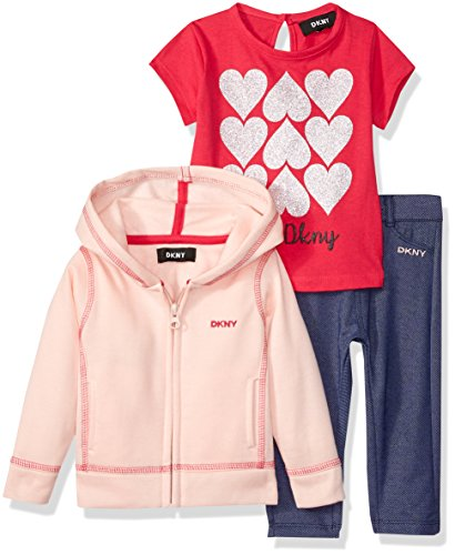 DKNY Baby Girls 3 Piece Love T-Shirt, Hoodie Pant Set, English Rose, 12M -