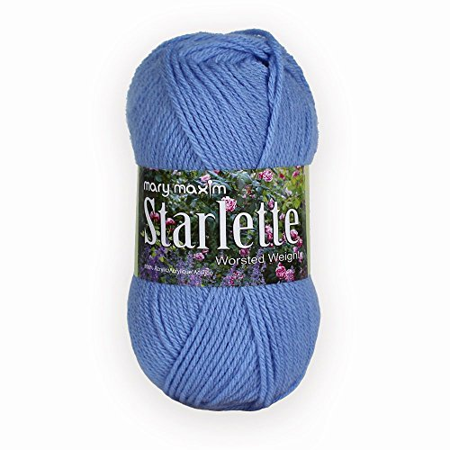 Mary Maxim Starlette Yarn - Medium Blue - 100% Ultra Soft Premium Acrylic Yarn for Knitting and Crocheting - 4 Medium Worsted Weight