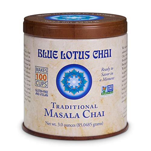 Blue Lotus Chai - Traditional Masala Chai - Makes 100 Cups - 3 Ounce Masala Spiced Chai Powder with Organic Spices - Instant Indian Tea No Steeping - No Gluten (Best Loose Powder In India)