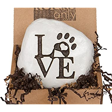 Love and a Paw Print... Engraved in a Heavy little Rock - Packed in a Sturdy Gift Box