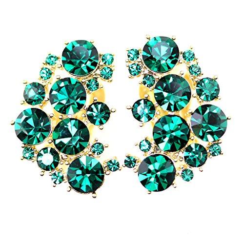 Faship Clip On Earrings Stunning Green Rhinestone Crystal