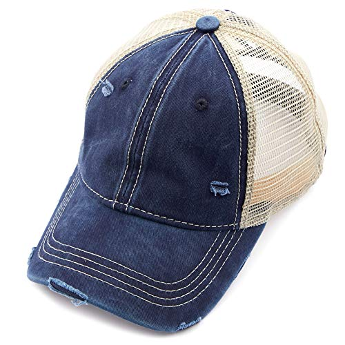 C.C Hatsandscarf Exclusives Washed Distressed Cotton Denim Ponytail Hat Adjustable Baseball Cap (BT-12) (Navy)