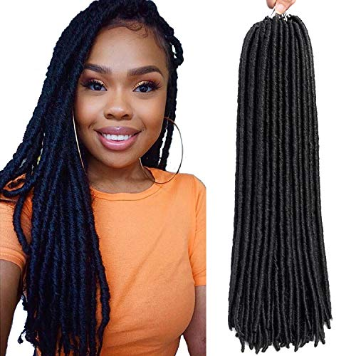 6 Packs/lot Dreadlocks Crochet Braids Soft Faux Locs Crochet Hair Synthetic Braiding Hair Bomba Dreadlocks Faux Locs Soul 18inch Goddess Locs Crochet Hair Braids (18inch, 1B)