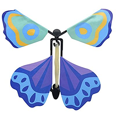 Cianowegy 4Pcs Magic Fairy Flying Butterfly Rubber Band Powered Wind Up Butterfly Toy Great Surprise Wedding Birthday Fun Gift for Kids Adults ( Color Random ): Toys & Games