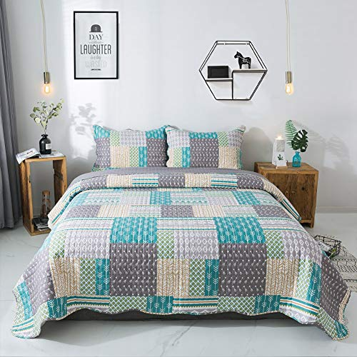 Gravan Oversized Quilt Set with Shams All-Season Cotton Quilted Bedspread Coverlet, Symphony Blue, Queen