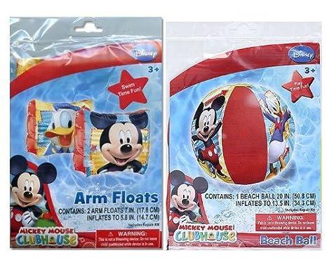 Disney Mickey Mouse Club House Set flotadores de brazo y balón de playa: Amazon.es: Oficina y papelería