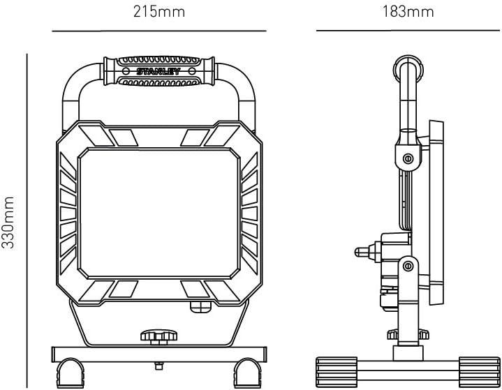Jaune//Noir LED 33W 4000 lumens STANLEY 31331 Projecteur de Chantier