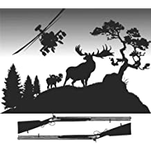 Decal - Vinyl Wall Sticker : Deer Moose Wild Hunting Animal Outdoor Forest Tree Scene Helicopter Living Room Bedroom Kitchen Home Decor Picture Art Image Peel & Stick Graphic Mural Design Decoration - Size : 12 Inches X 12 Inches - 22 Colors Available