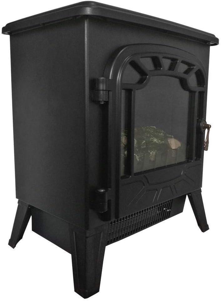 Noir HomeZone 1800W /Électrique 1850W Chemin/ée Radiateur Portable Vintage B/ûche Br/ûlant Effet de Flamme Chemin/ée Blanc Noir Maison Chauffage