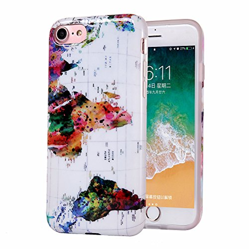 iPhone 8 Case Marble, Slim-Fit Anti-Scratch Shock-Proof IMD Soft TPU Cover with Design Pattern for Apple iPhone 7/iPhone 8 (World Map) from ZQ-Link