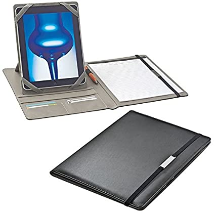 Konferenzmappe A4 grau Ringbuchmappe Schreibmappe Vertretermappe Orgamappe mit Tabletfach mit 100 Prospekth/üllen