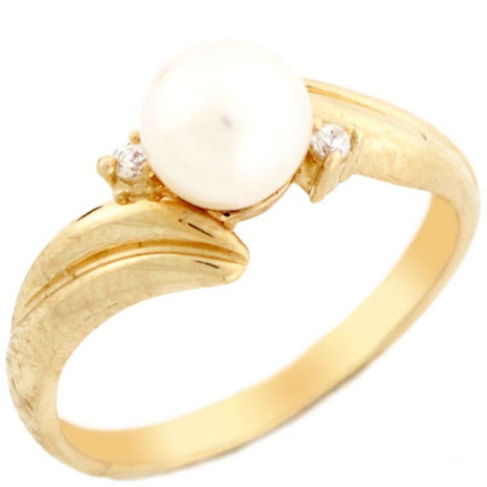 10k Solid Yellow Gold Freshwater Cultured Pearl & CZ Bypass Every Day Ring