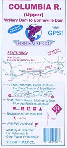 Columbia River Map - Columbia River, Upper, OR/WA Fishing Map