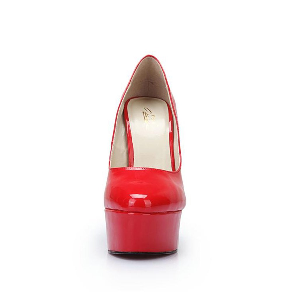 Red Leather 14 B M US Leeminus Plus Size High Heels Pumps Shoes for Women
