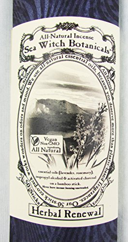 Sea Witch Botanicals Handmade Herbal Renewal All Natural Plant Based Incense. Non GMO Essential Oils. 50 Sticks Per Pack - incensecentral.us