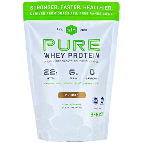 PURE Whey Protein Powder by SFH | Best Tasting 100% Grass Fed Whey | All Natural | 100% Non-GMO, No Artificials, Soy Free, Gluten Free (Churro, 2 Pound Bag)