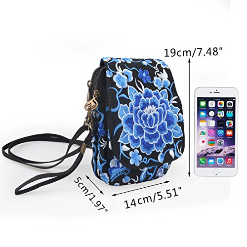 Crossbody Bag Jiyaru Cellphone Purse Embroidered Shoulder Blue Wallet Mini Women Bag wUPXfqx7U