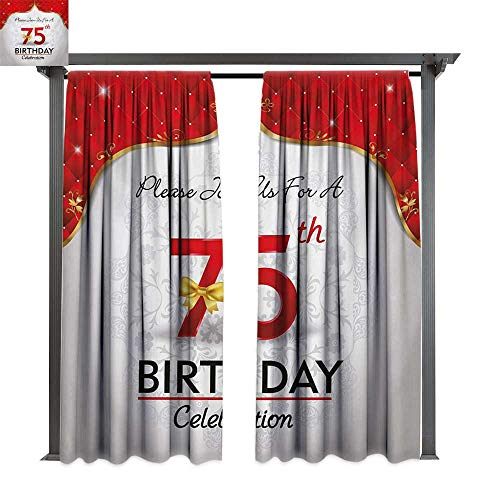 bybyhome Outdoor Waterproof Curtain 75th Birthday Royal Classical Birthday Party Floral Invitation Ceremony Please Join Us W84 xL108 Suitable for Front Porch,pergola,Cabana,Covered Patio