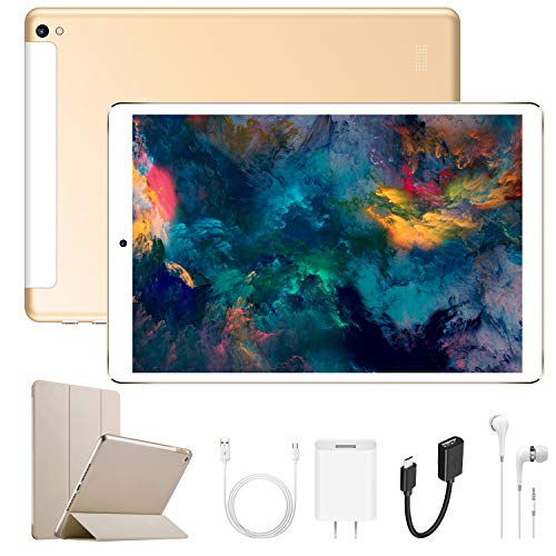 Android Tablet 10.1 Inch with Dual SIM IPS/HD, 2GB RAM 32GB Battery 6500mAh, 4G Android 7.1 Tablet PC Quad-Core Dual Camera, Mediapad WIFI/Bluetooth/GPS/OTG (Gold)